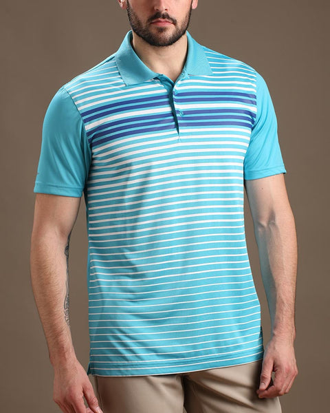 Narrowing Pinstripes Jersey Polo with Ribbed Collar