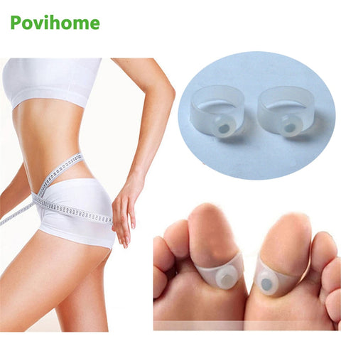 2Pcs/Pair Beauty Magnet Lose Weight Reduce Body Toe Ring Slim Loss Sticker Silicon Foot Massager Foot Care Fat Burner C093