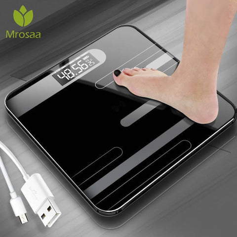 Mrosaa Bathroom Body Floor Scales Glass Smart Electronic Scales USB Charging LCD Display Body Weighing Digital Body Weight Scale