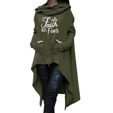 Load image into Gallery viewer, Oversized Cardigan Style Faith Not Fear Hoodie - Faith Based Fashion Hoodie