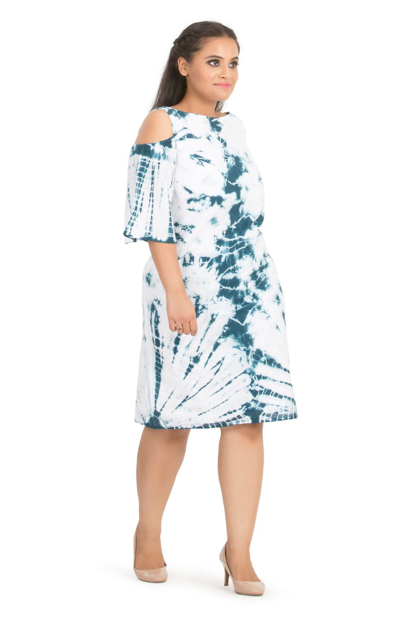 Green Cotton Tie Dye Knee Length Dress