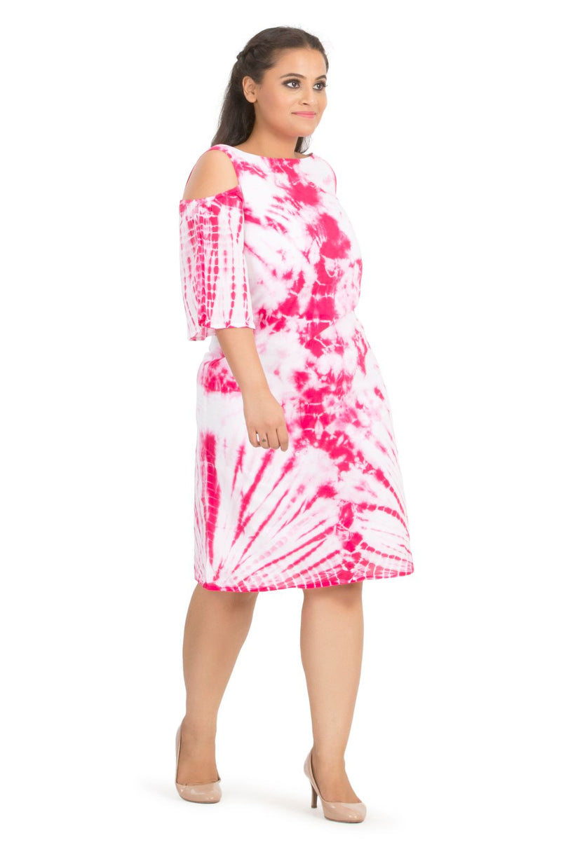 Cotton Tie Dye Knee-Length Dress