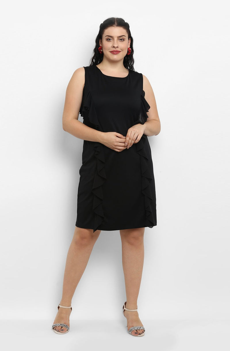 Black Ruffle Knee-Length Dress