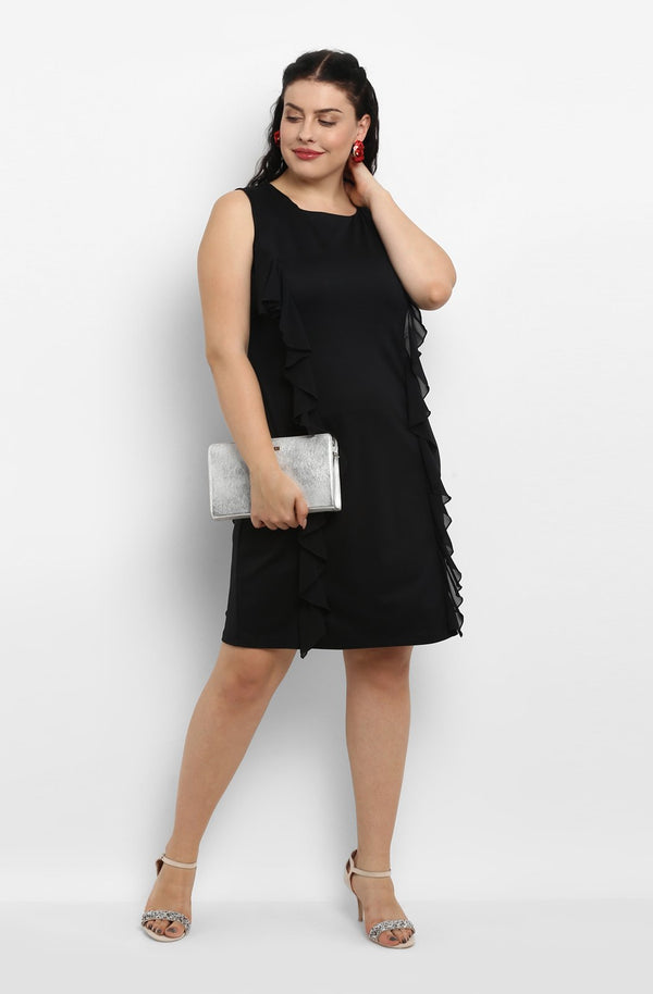 Black Ruffle Knee-Length Dress  by Afamado