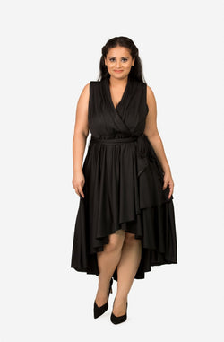 Cross Front Fit & Flare Dress by Afamado