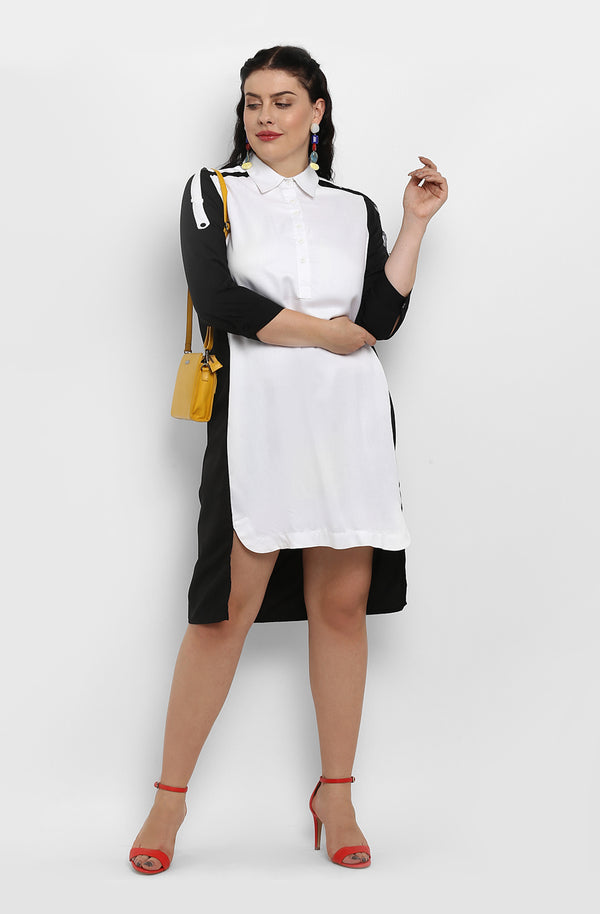 High-Low Monochrome Casual Shirt Dress by Afamado