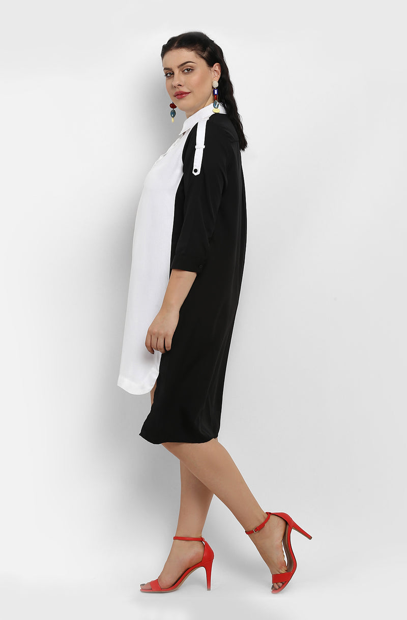 High-Low Monochrome Casual Shirt Dress