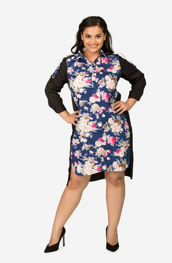 Shift Floral Print Dress with Collar by Afamado