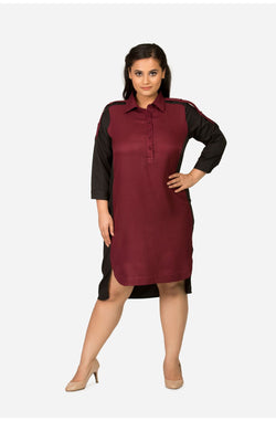 Shift Maroon Dress with Collar by Afamado