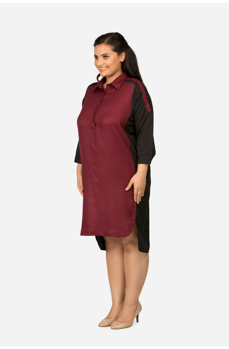 Shift Maroon Dress with Collar