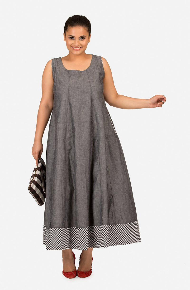Floor Length Grey Flare Dress by Afamado