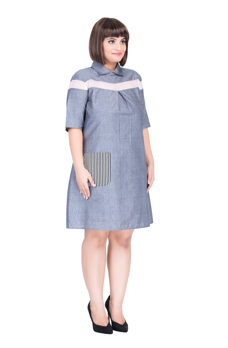 Patch Pocket Straight Fit Dress by Afamado