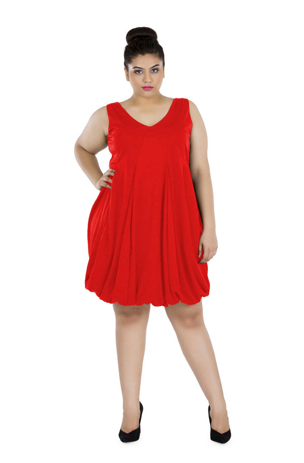 Short V-Neck Balloon Dress by Afamado