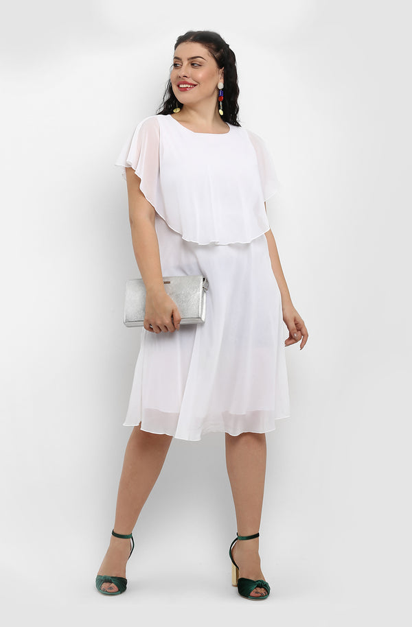 Fit and Flare Cape Dress by Afamado