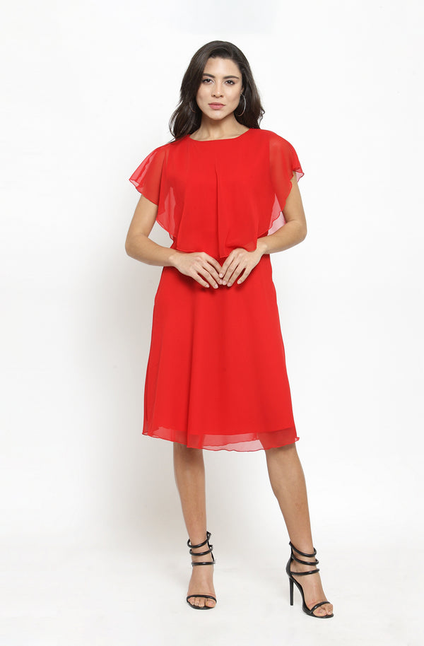 Back Bow Tie Overlay Dress