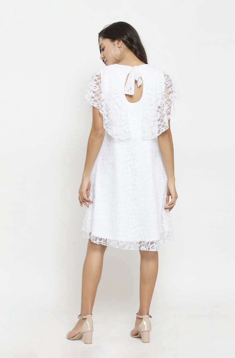 White Back Bow Tie Overlay Dress