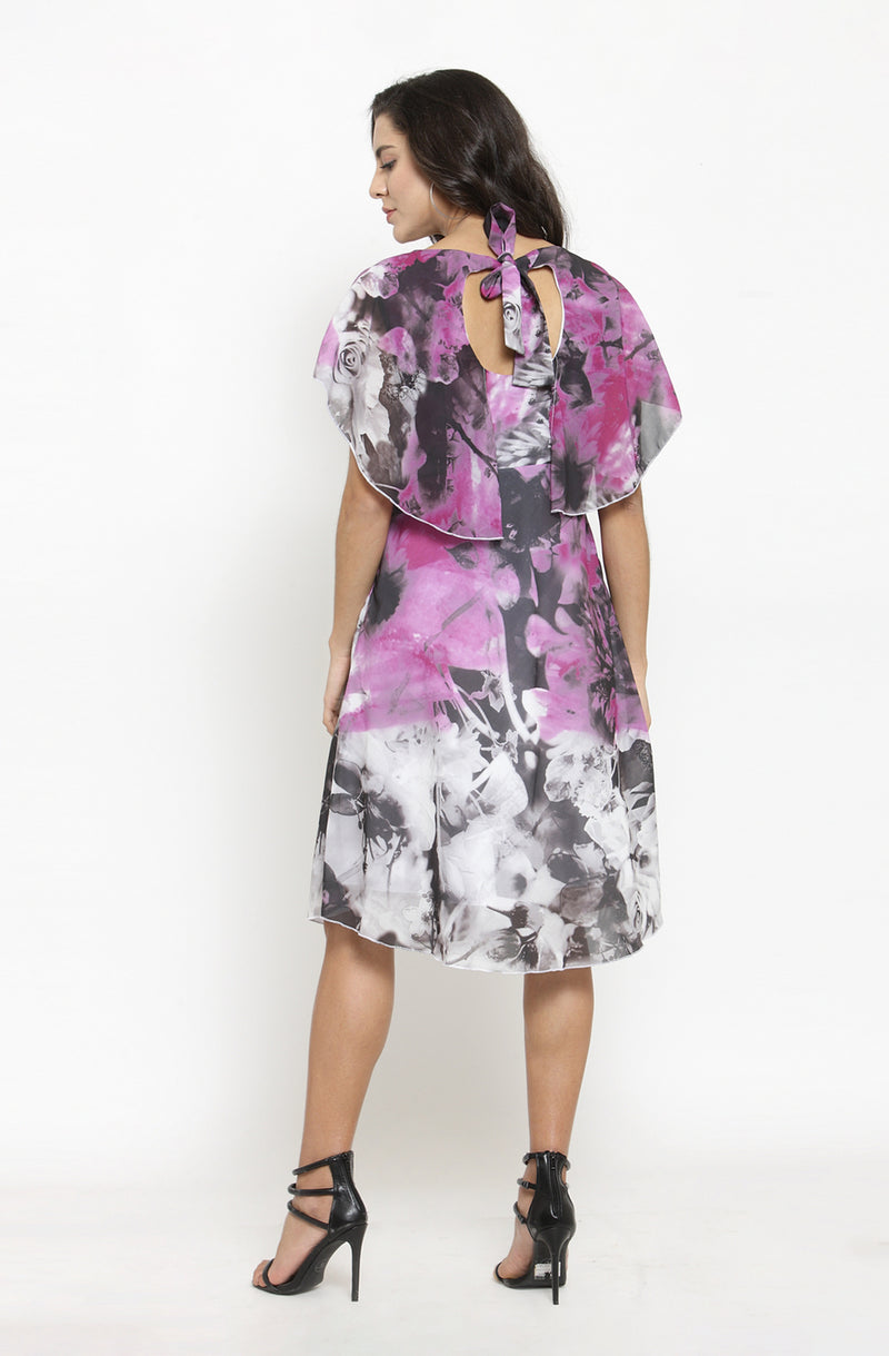 Abstract Floral Print Overlay Dress