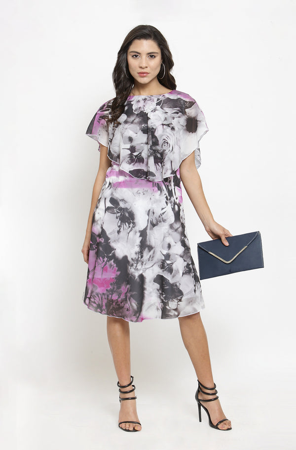 Abstract Floral Print Overlay Dress by Afamado