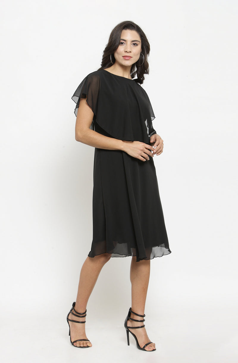 Back Bow Tie Black Overlay Dress