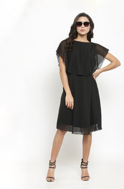 Back Bow Tie Black Overlay Dress by Afamado