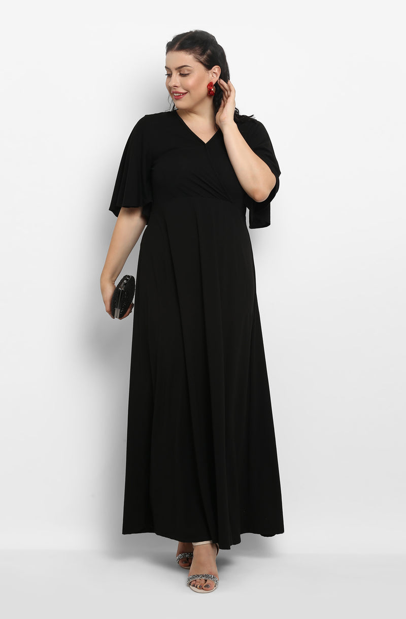 Solid Black Casual Maxi Dress by Afamado