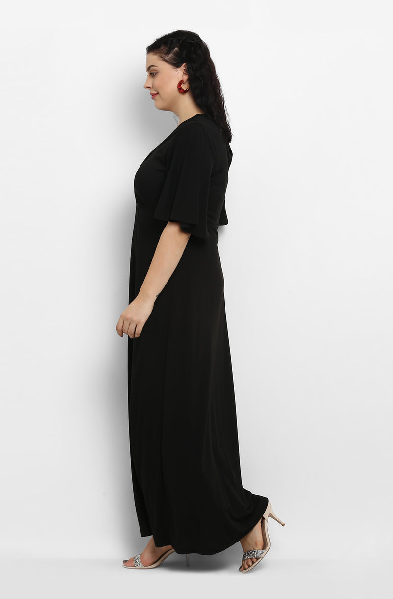 Solid Black Casual Maxi Dress