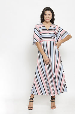 Multicolored Striped Overlap Maxi Dress by Afamado
