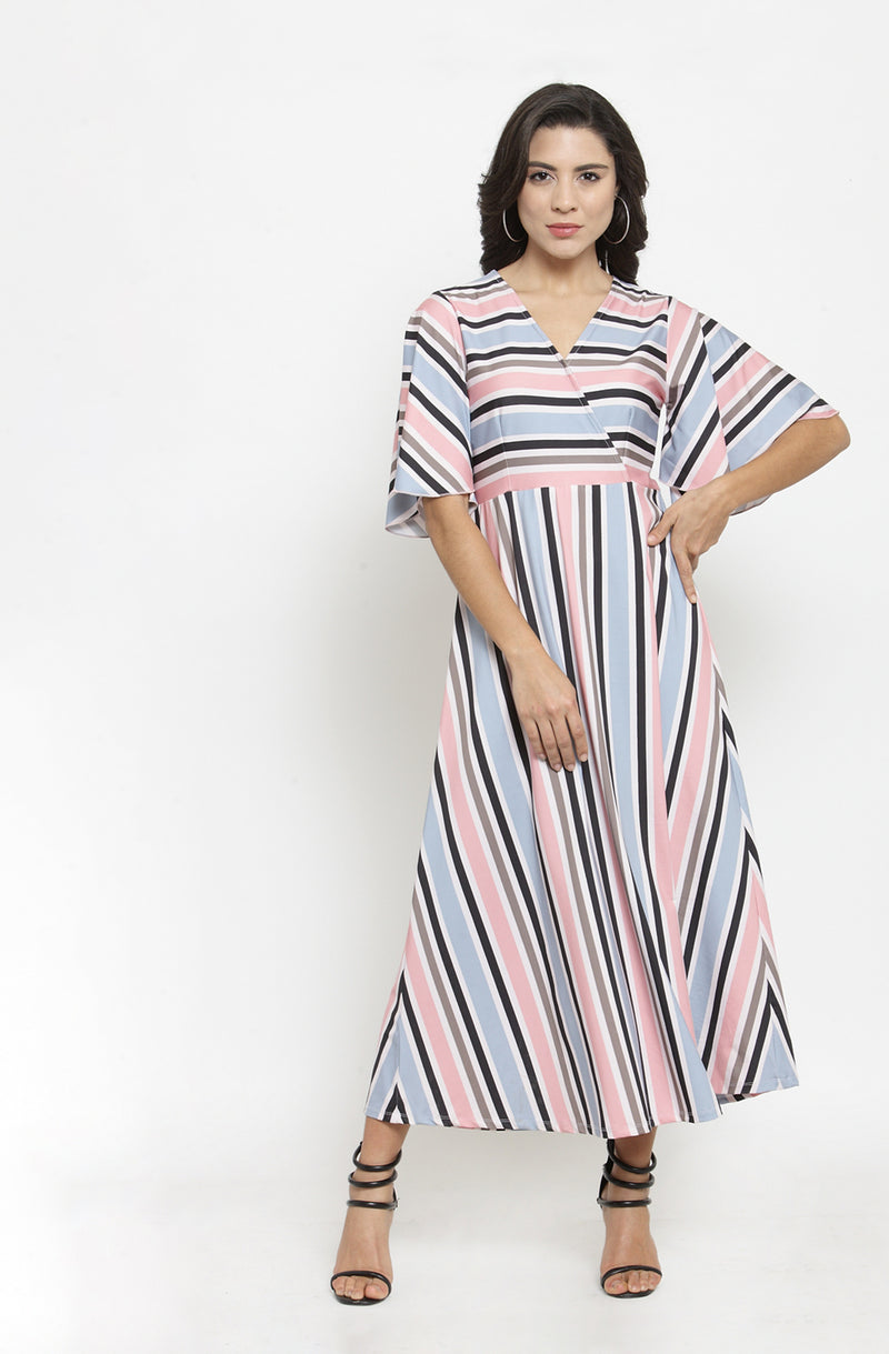 Multicolored Striped Overlap Maxi Dress