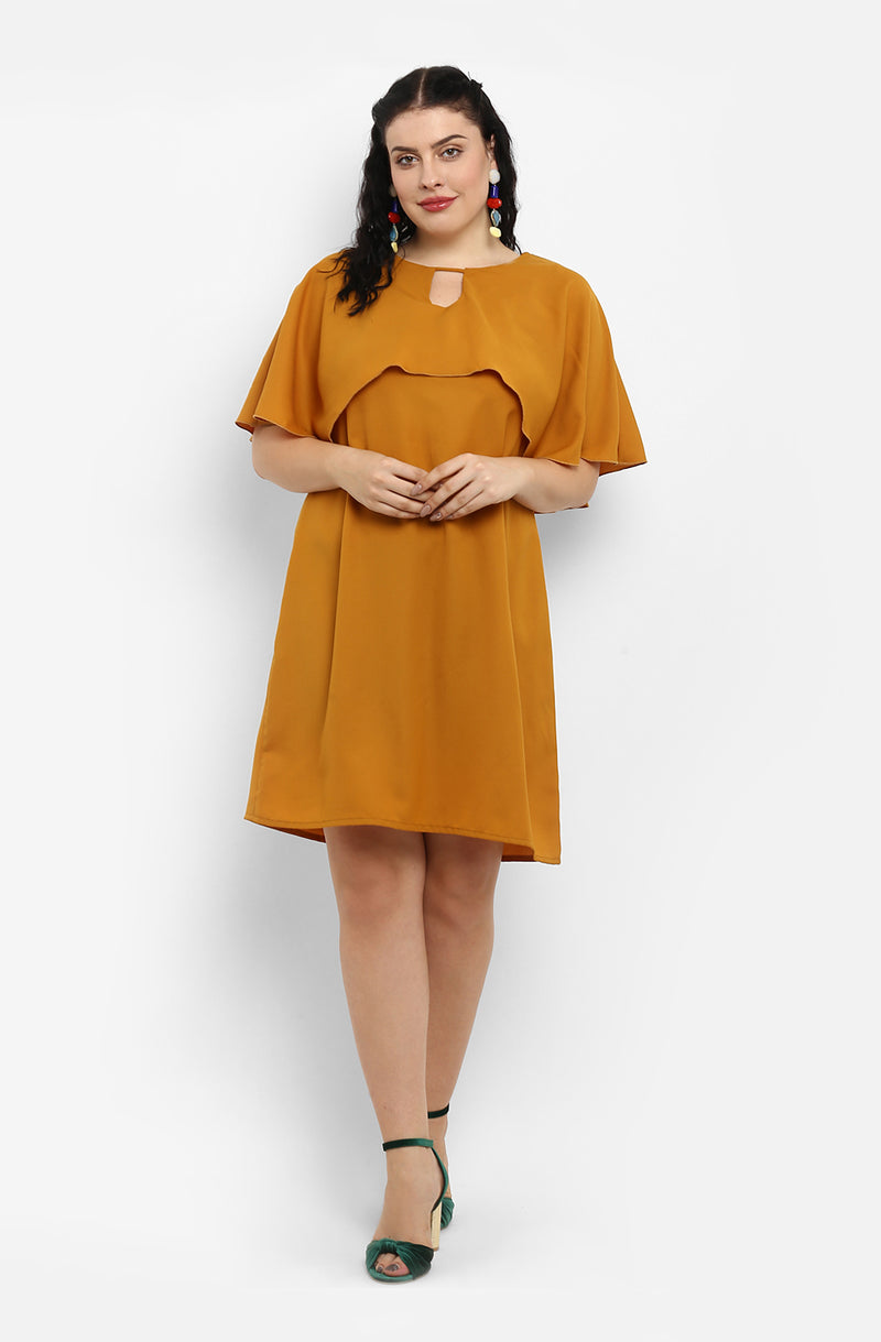 Straight Fit Cape Casual Dress by Afamado