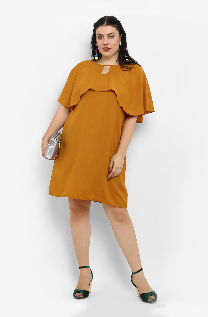 Straight Fit Cape Casual Dress