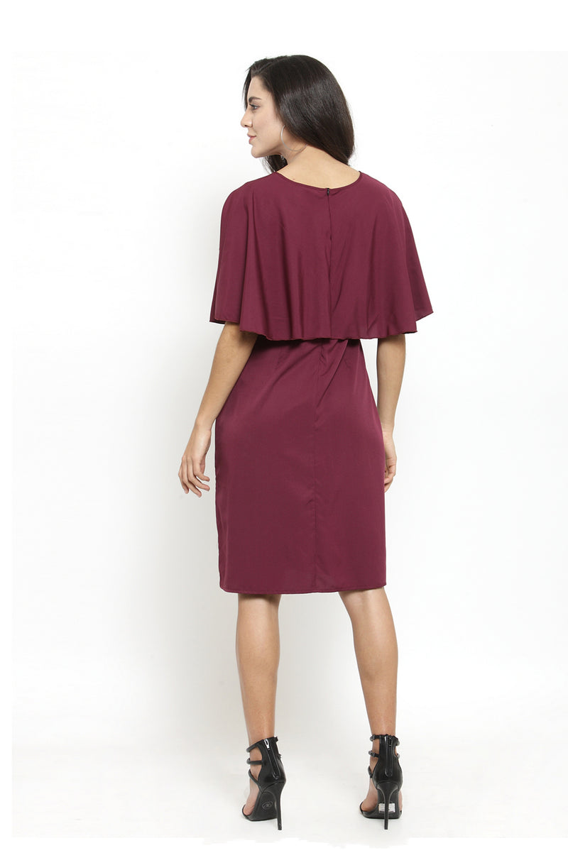 Burgundy Casual Overlay Dress