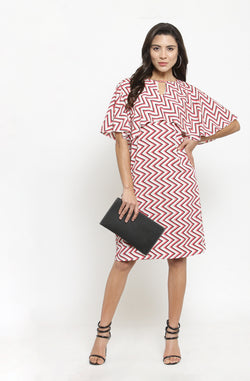 Chevron Print Overlay Dress by Afamado