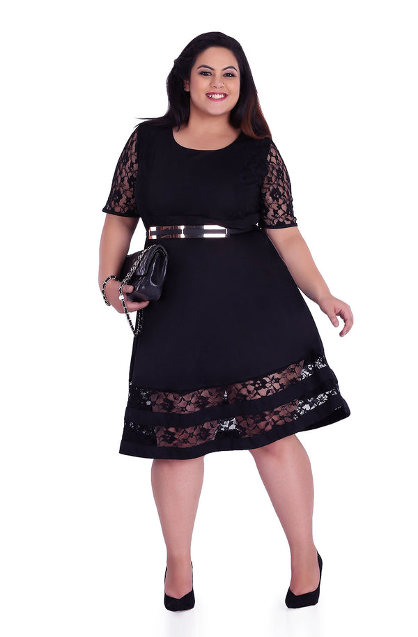 Elbow Sleeve Lace Dress by Afamado