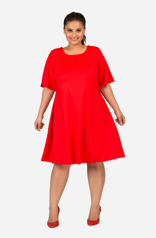 Red A-Line Elbow-Sleeve Dress by Afamado