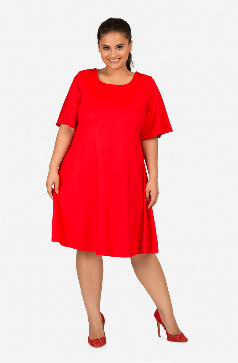 Red A-Line Elbow-Sleeve Dress