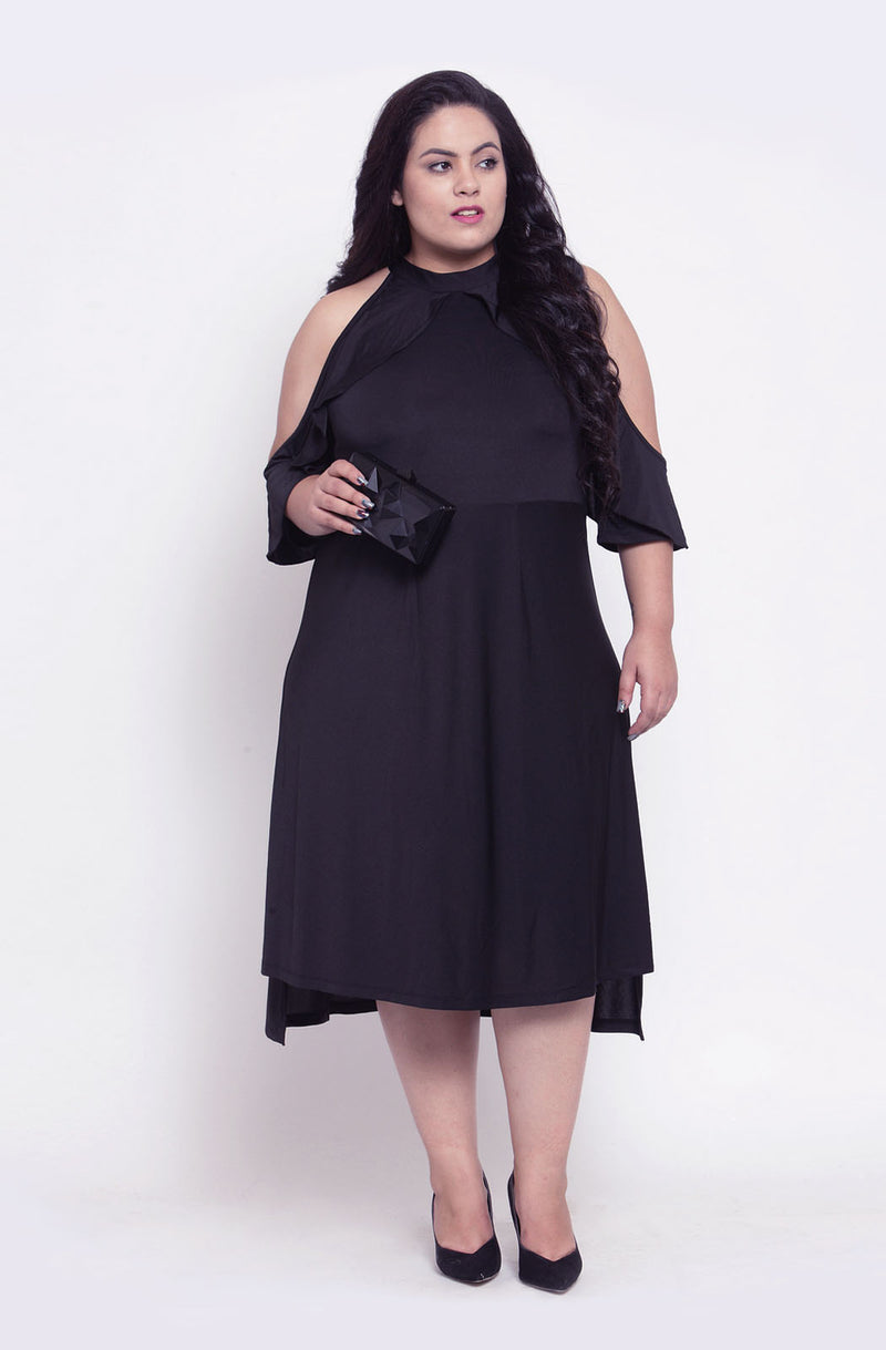 Fit and Flare Cold-Shoulder Party Dress