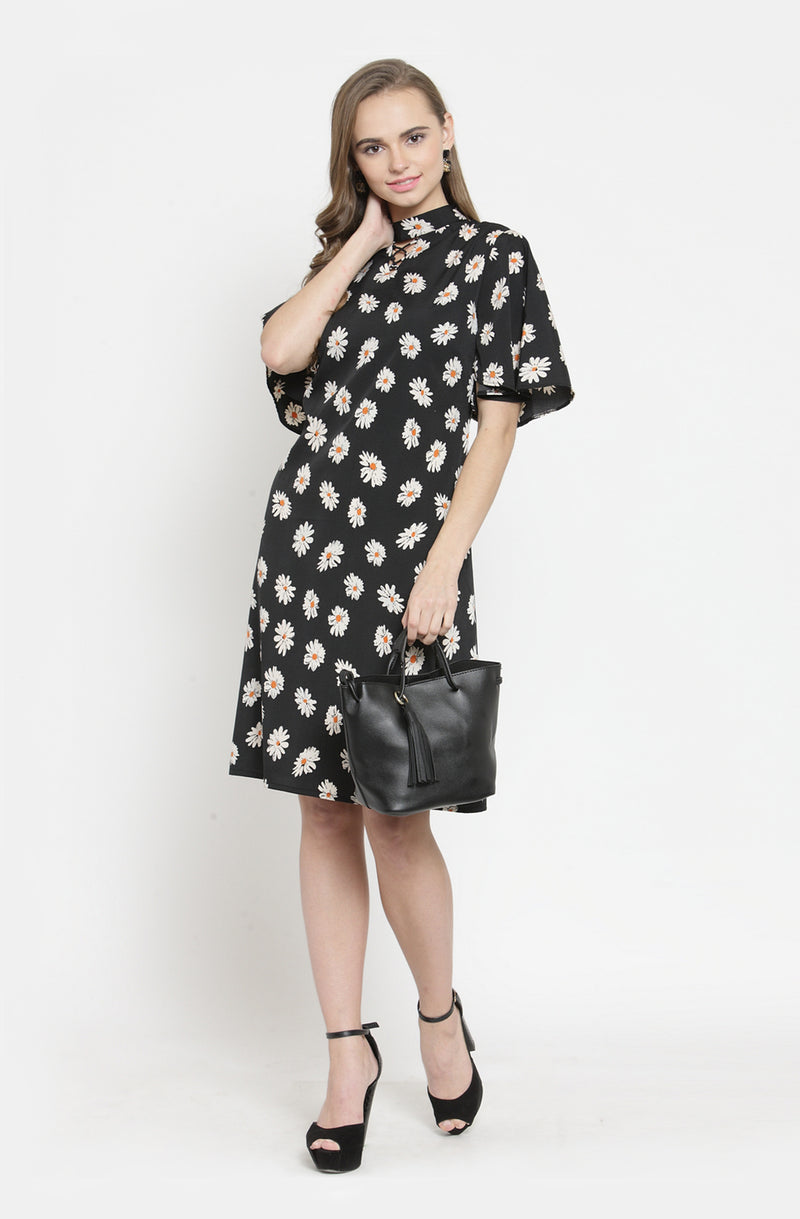 Casual A-Line Floral Dress by Afamado