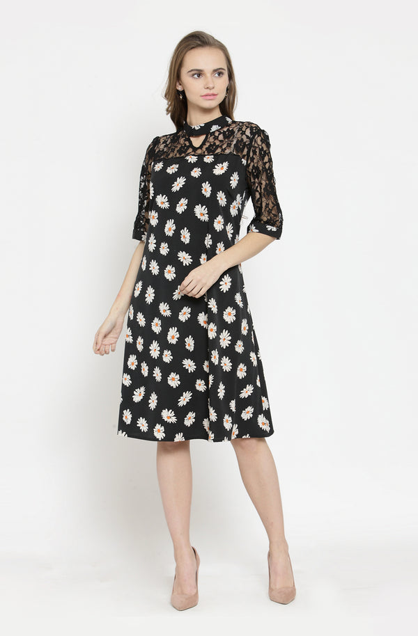 Mandarin Collar Black A-Line Dress