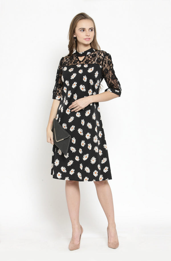 Mandarin Collar Black A-Line Dress by Afamado
