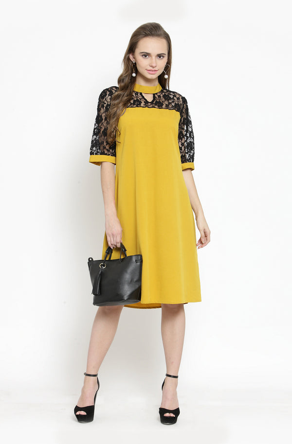 Flare Sleeves A-Line Dress by Afamado