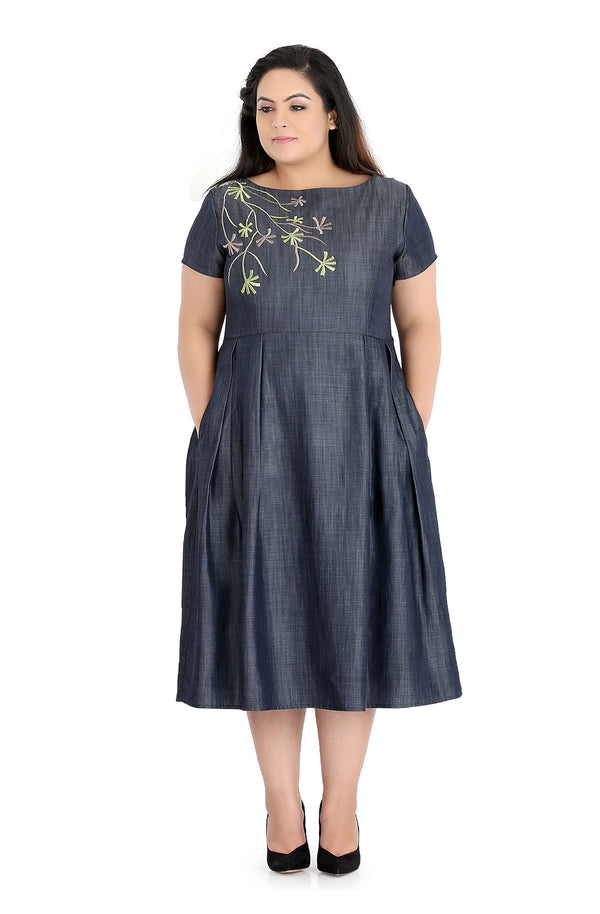 Embroidered Chambray Dress by Afamado