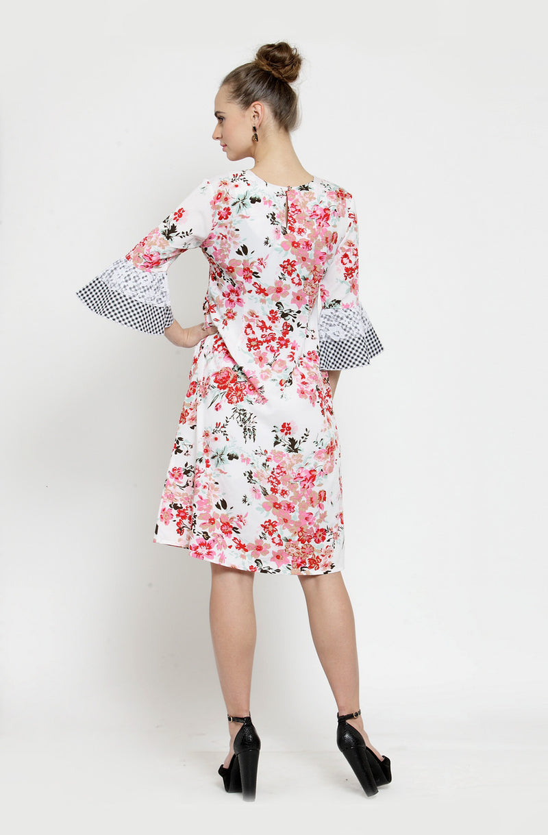 Gingham Bell Sleeves A-Line Dress