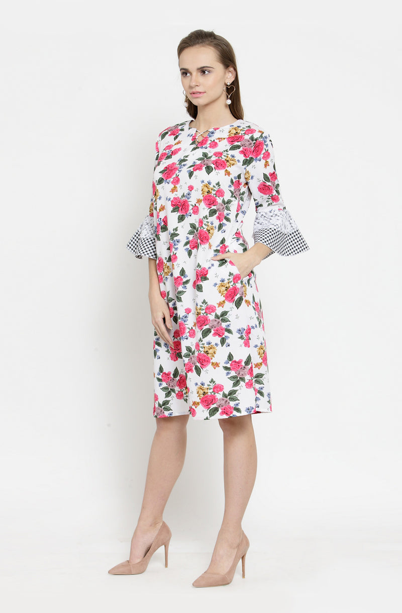 Gingham Sleeves A-Line Dress