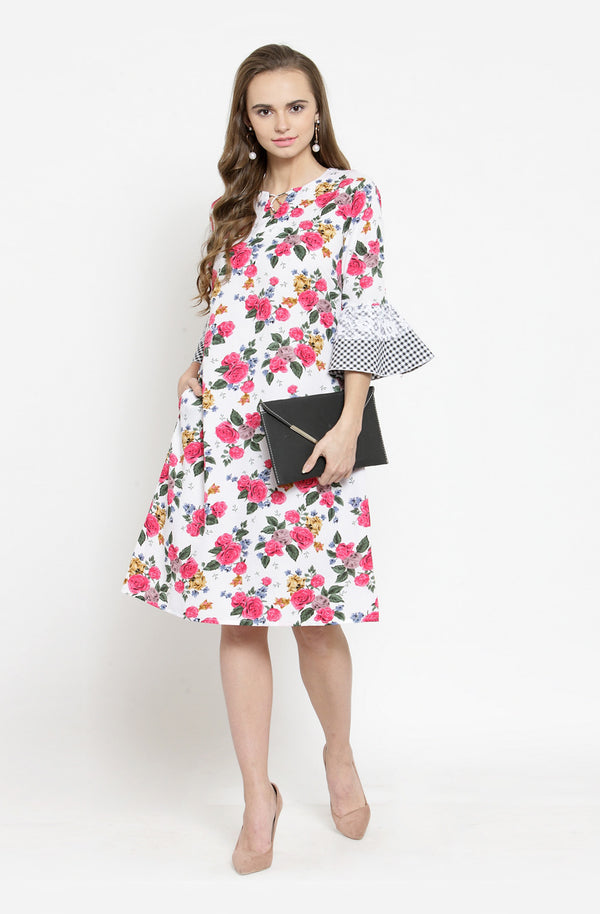 Gingham Sleeves A Line Dress