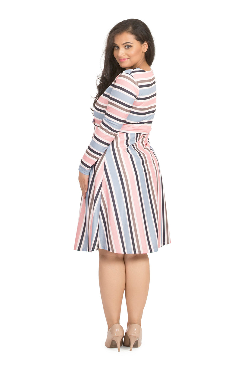 Pastel Stripe Fit and Flare Dress