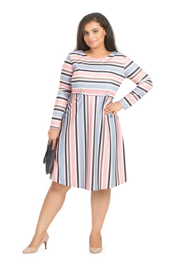 Pastel Stripe Fit and Flare Dress by Afamado