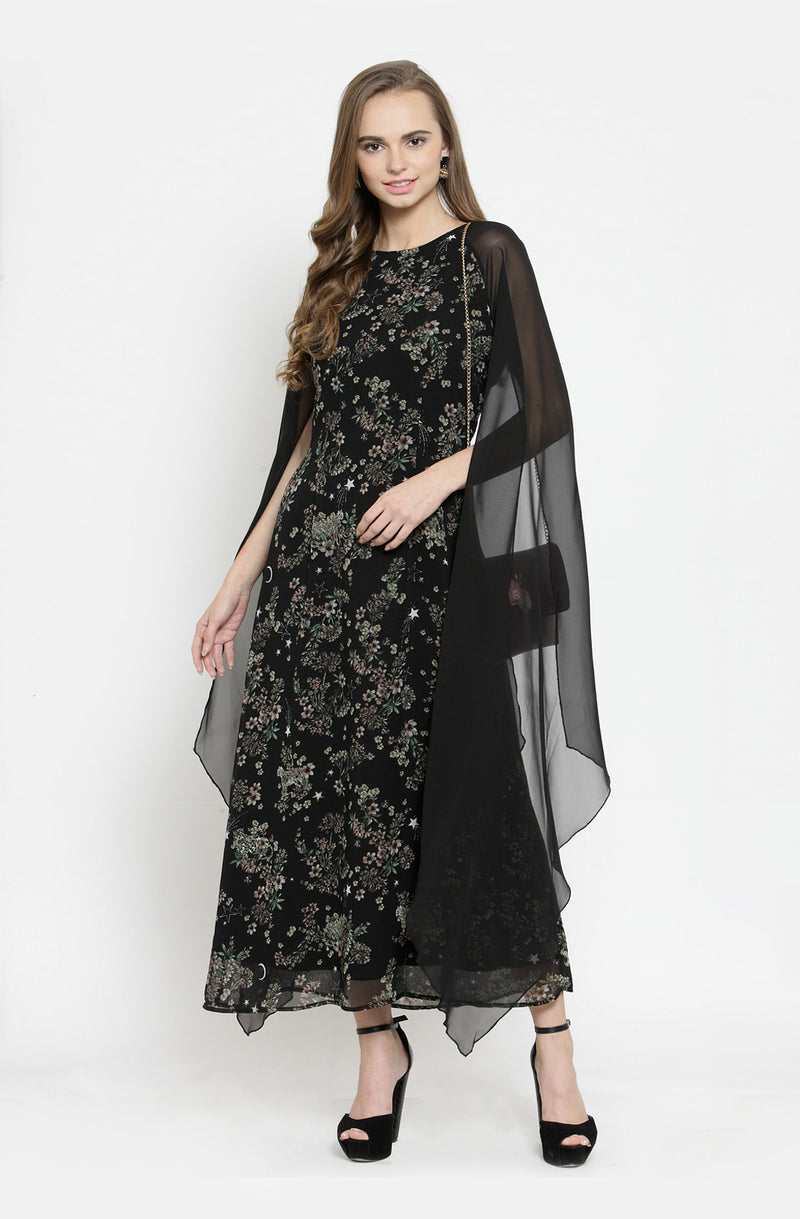 Black Floral A-Line Dress by Afamado