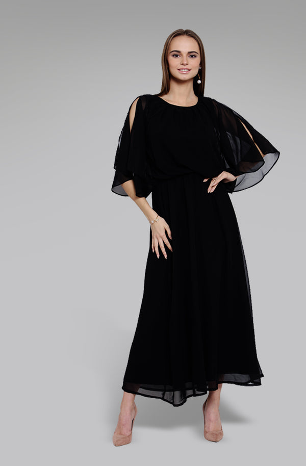 Black Fit and Flare Maxi Dress Black Fit and Flare Maxi Dress
