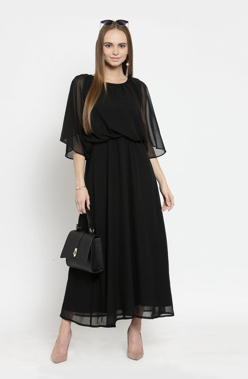 Black Fit and Flare Maxi Dress