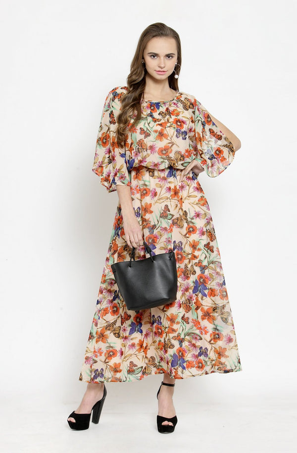 Maxi Dress with Cape Sleeves by Afamado